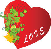 Autumn Love. Autumn and red grunge heart with love Royalty Free Stock Images