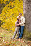 Autumn love couple hugging happy in park Royalty Free Stock Photography