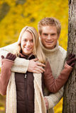 Autumn love couple hugging happy in park Royalty Free Stock Images