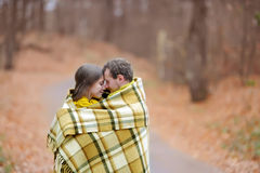 Autumn love. The guy and the girl are in love Stock Photos