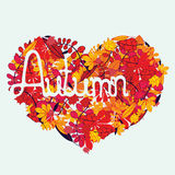 Autumn love with lettering Stock Photography