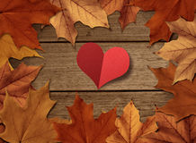 Autumn love. With maple leaf decoration Royalty Free Stock Images