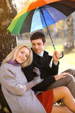 Autumn, love, relationships and people concept - lovely couple Stock Photos