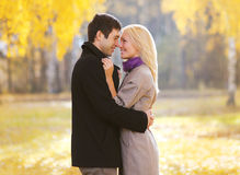 Autumn, love, relationships and people concept - lovely couple Stock Image