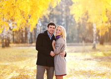 Autumn, love, relationships and people concept - lovely couple Royalty Free Stock Photos