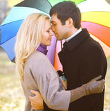 Autumn, love, relationships and people concept - sensual couple Royalty Free Stock Photography