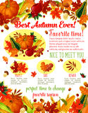 Autumn lovely fall time wishes vector poster Royalty Free Stock Photography