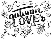 Autumn Loves us Typo and Icons Royalty Free Stock Image