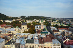 Autumn Lviv from the roof, Ukraine. The old architecture of the Lviv city in autumn day Royalty Free Stock Photos