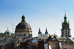 Autumn Lviv from the roof, Ukraine. The old architecture of the Lviv city in autumn day Royalty Free Stock Photo