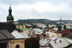 Autumn Lviv from the roof, Ukraine. The old architecture of the Lviv city in autumn day Stock Image