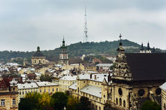 Autumn Lviv from the roof, Ukraine. The old architecture of the Lviv city in autumn day Stock Images