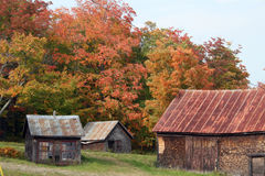 Autumn in Maine countryside. Old barns and sheds in rural countryside of Maine Royalty Free Stock Photography