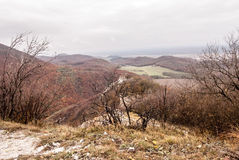 Autumn Male Karpaty mountains with Ostry kamen castle ruins Stock Photo