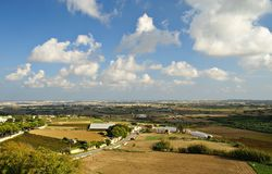Autumn maltese landscape. Village with cultivated fields Royalty Free Stock Images