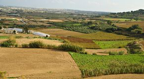 Autumn maltese landscape. Village with cultivated fields Stock Photos