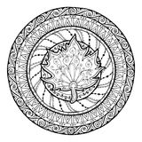 Autumn mandala. Tribal doodle with maple leaf. Stock Image