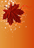 Autumn maple background. Red autumn maple illustration. Warm colors Royalty Free Stock Photo