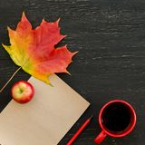 Autumn maple leaf, apple, cup of tea, paper for text and pencil. On black wooden background. Copy space background, top view flat lay overhead Stock Photos