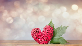Autumn maple leaf and heart shape gift Royalty Free Stock Image