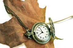 Autumn maple leaf and vintage pocket watch in retro tone Royalty Free Stock Photos