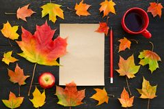Autumn maple leaves, apple, cup of tea, paper for text and pencil Royalty Free Stock Image