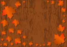 Autumn maple leaves background, colorful maple leaves on vector aged wooden background texture Stock Photo