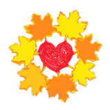 Autumn maple leaves with heart. Autumn fall heart love (creative concept). Yellow and orange maple leaves with stalks in the form of red heart as symbol of Royalty Free Stock Photo