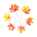 Autumn maple leaves imprint watercolor Royalty Free Stock Images
