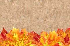 Autumn Maple Leaves intelligente sopra vecchia struttura di carta Fotografia Stock Libera da Diritti