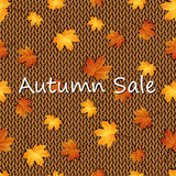 Autumn maple leaves on the knitted background Stock Images