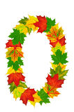 Autumn maple Leaves in the shape of number 0 Royalty Free Stock Photography