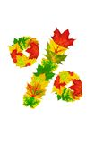 Autumn maple Leaves in the shape of percent Stock Photo