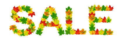 Autumn maple Leaves in the shape of word Stock Photo