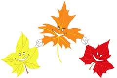 Autumn maple leaves smile. Three autumn maple leaves smile on white background royalty free illustration