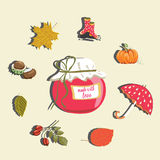 Autumn marmalade jar with autumn items around like pumpkin, umbrella, rainy boots, rose hip and leaves. Vector illustration on lig. Hand drawn Autumn marmalade stock illustration