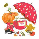 Autumn marmalade jar with autumn items like pumpkin, umbrella, leaves. Vector illustration on white background. Hand drawn Autumn marmalade jar with autumn items stock illustration