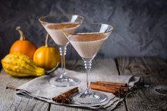 Autumn martini cinnamon cocktail. Rustic background, copy space Stock Photos