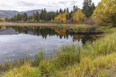 Autumn at McArthur Lake in Idaho. stock photo