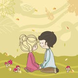 Autumn meadow. Scene with boy and girl in love (playing Royalty Free Stock Photo