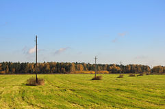 Autumn meadow with telegraph poles Royalty Free Stock Photo