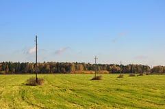 Autumn meadow with telegraph poles. The autumn meadow view with a line of telegraph poles royalty free stock photo