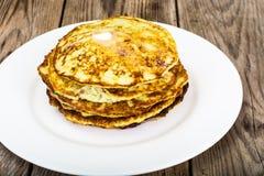Autumn Meal Pancakes rústico del calabacín Dietas vegetarianas Fotografía de archivo libre de regalías