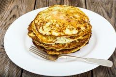 Autumn Meal Pancakes rústico del calabacín Dietas vegetarianas Fotos de archivo libres de regalías