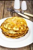 Autumn Meal Pancakes rústico del calabacín Dietas vegetarianas Imagenes de archivo
