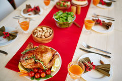 Autumn meal. Roasted chicken served with vegetables for fall dinner stock photos
