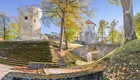 Autumn in medieval public park, Cesis, Europe stock photo