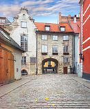 Autumn in medieval street of old Riga Royalty Free Stock Photography