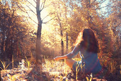 Autumn meditation in forest royalty free stock images