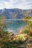 Autumn Mediterranean-landschap Montenegro, Baai van Kotor royalty-vrije stock foto's